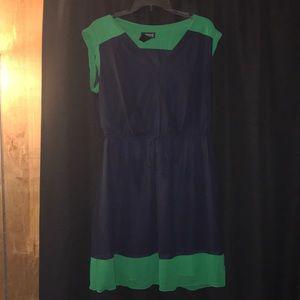 Women's short dress green and blue.